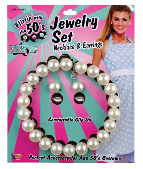 50s Pearl Necklace + Earring Set 50s Rockabilly Fifties Fancy Dress
